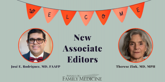Welcome new associate editors José E. Rodriguez, and Therese Zink!