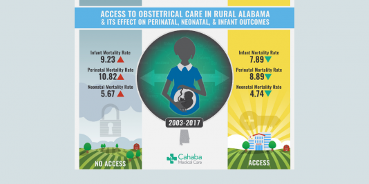 access to obstetrical care in rrual alabama and its effect on perinatal, neonatal and infant outcomes