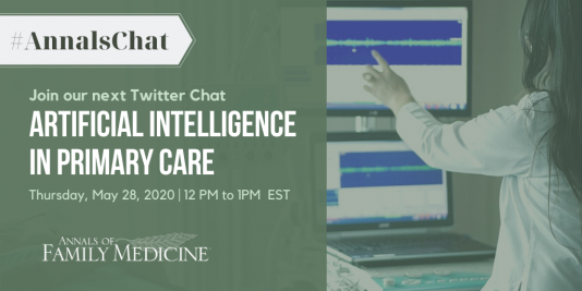 Twitter Chat promo image for AI in primary care