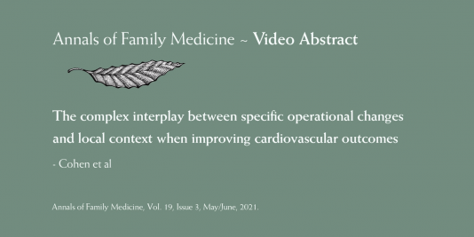Annals of Family Medicine Video Abstract: The complex interplay between specific operational changes and local context when improving cardiovascular outcomes. Cohen et al.